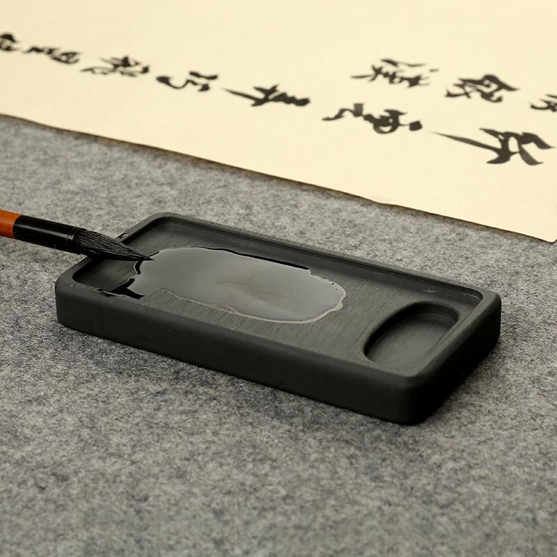 日式精制罗纹花池砚4.8寸 墨池歙砚方形砚 砚台原石 Изображение 1
