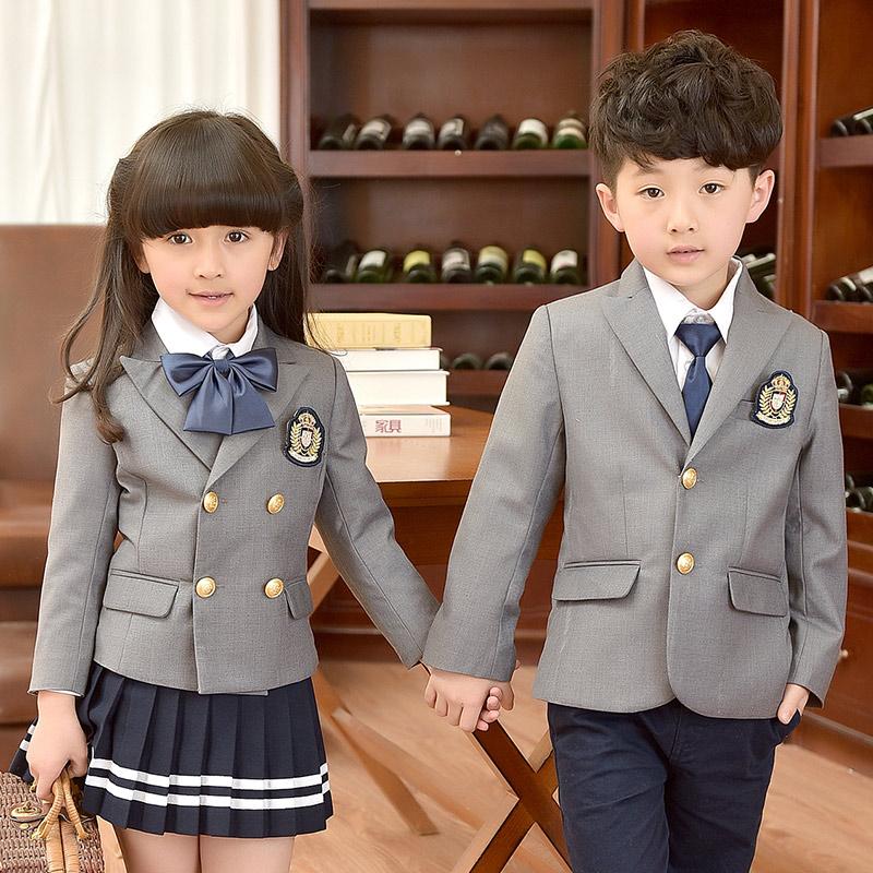 班服外套男女儿童套装春秋冬季学院风中小学生西装校服幼儿园园服