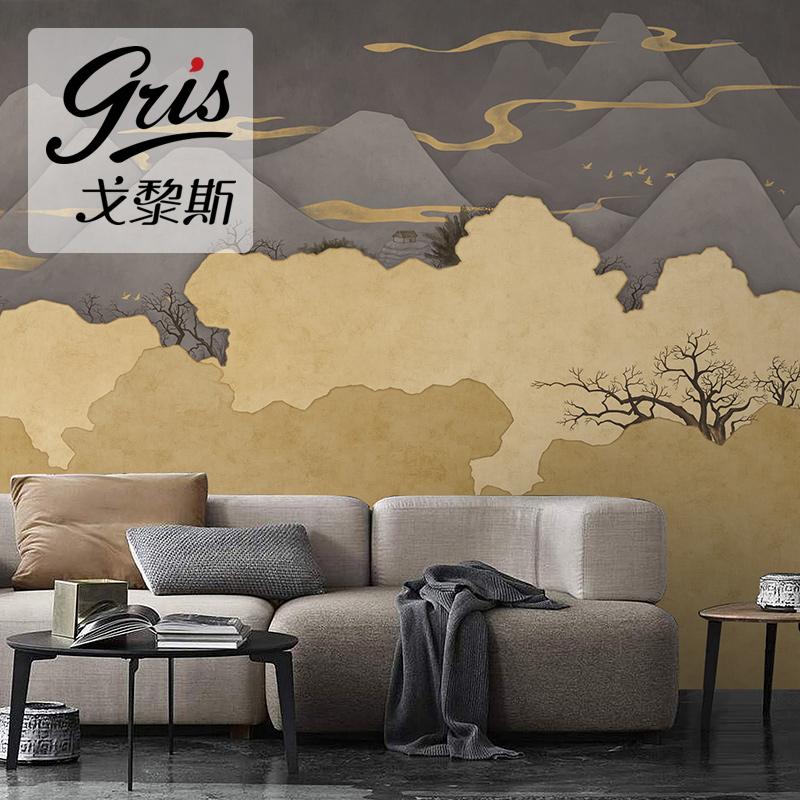 新中式山水客厅电视背景墙现代简约抽象墙纸卧室壁纸定制大型壁画