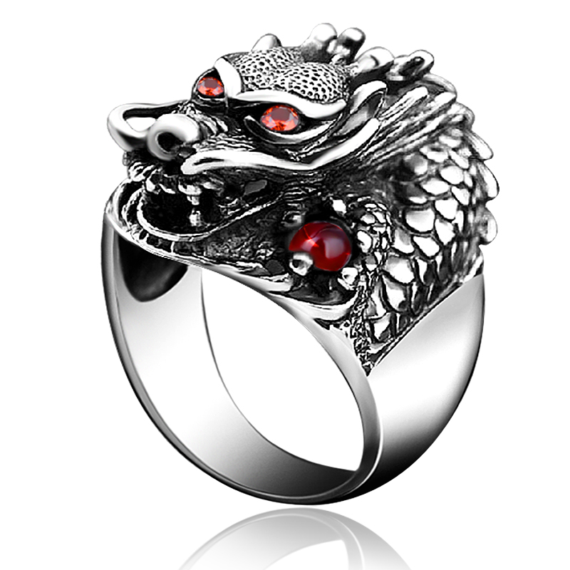 925 silver jewelry domineering leader ring mens Retro Thai silver rock punk fashion personality single food ring