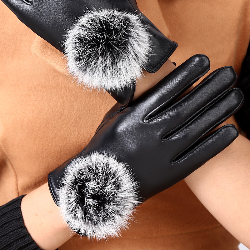 Leather Gloves Ladies autumn and winter Plush lovely Korean students warm rabbit hair touch screen driving gloves female winter