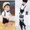 婴儿西装套装男宝宝夏季满月百天周岁衬衣背带绅士生日礼服三件套