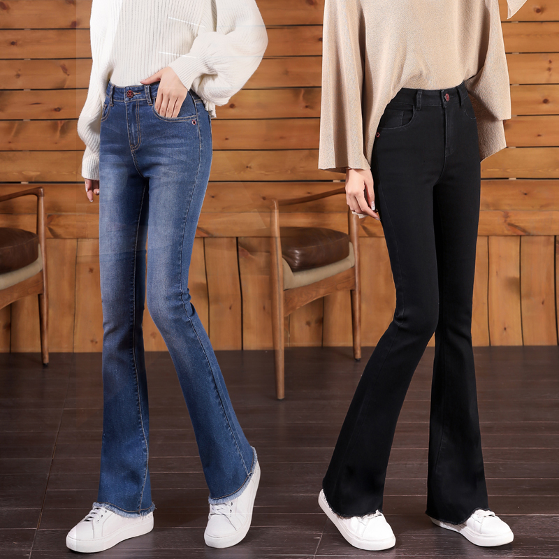 Womens high waist new stretch womens trousers with wide legs showing high and thin slim slim slim pants