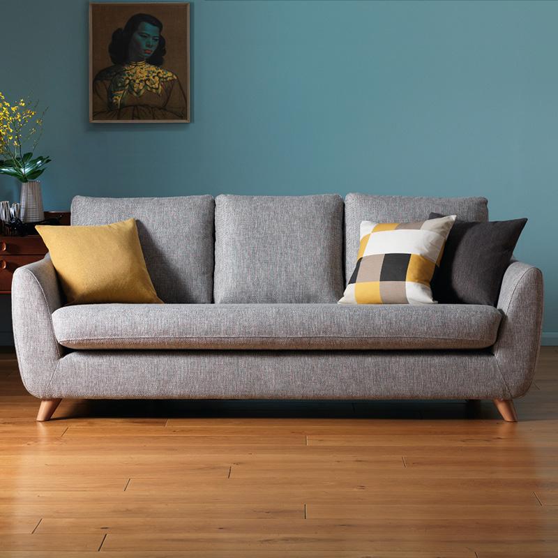 北欧布艺沙发现代简约设计师风格小户型棉麻实木双三人座日式3位