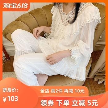 日系睡衣女春秋季纯棉韩版套装甜美可爱公主风蕾丝宫廷少女家居服