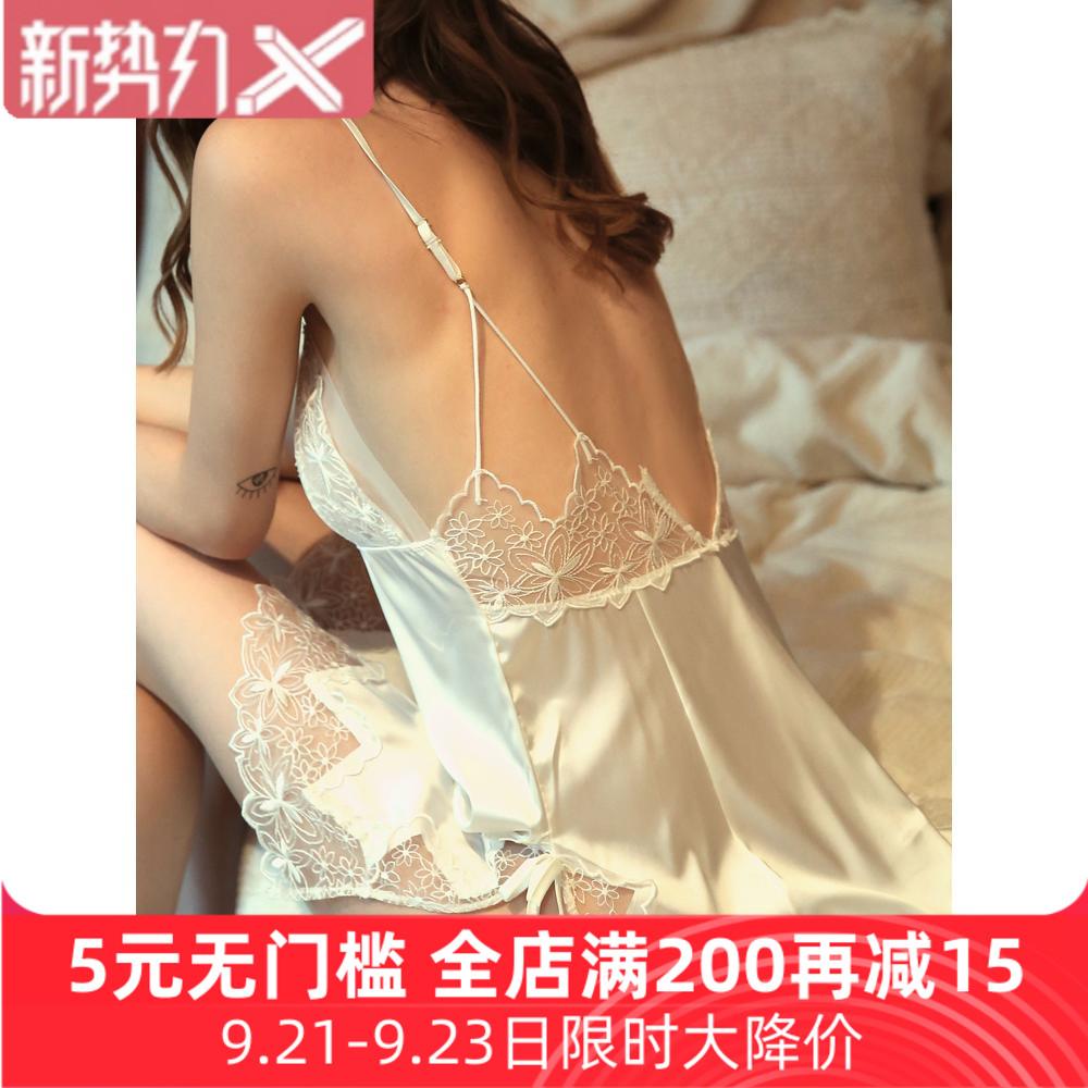 维密情蕾丝短裙透明性感睡衣女网纱情趣露背吊带睡裙真丝绸仙女风