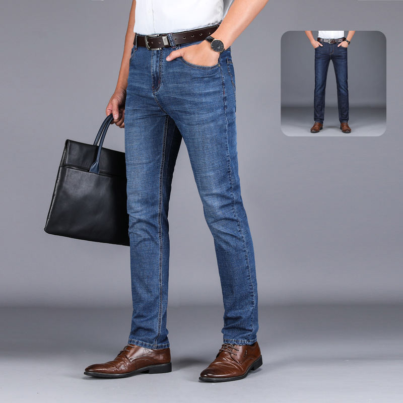 2021 jeans mens summer thin business straight slim pants mens casual jeans manufacturer wholesale