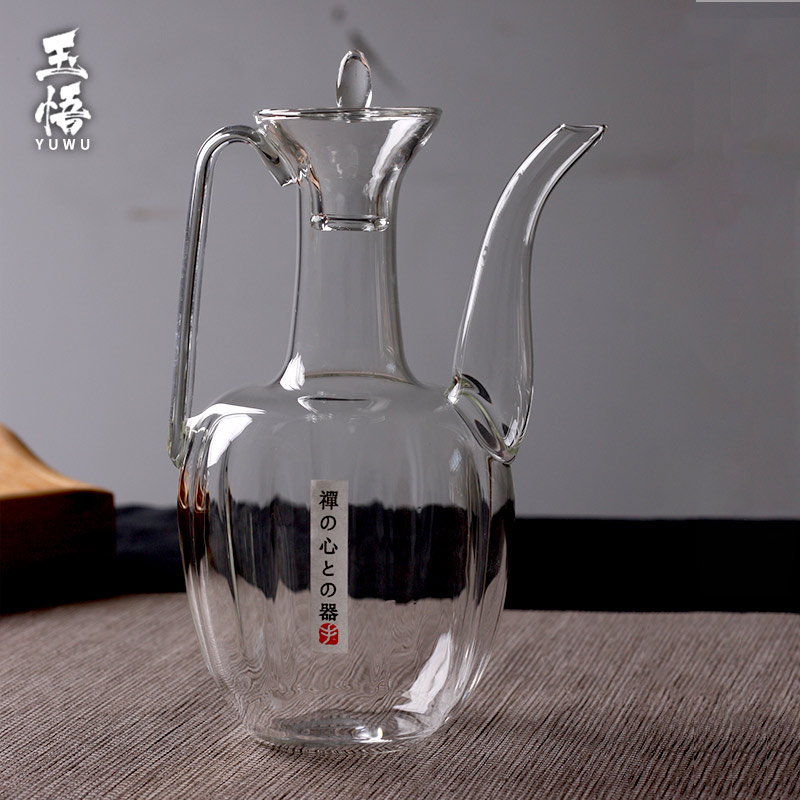Chinese antique handcrafted straight handle, pot pot, thermotolerant glass thermos, wine dispenser, household wine Baijiu, transparent.