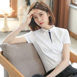 小立领短袖夏季职业寸衫小众白衬衫