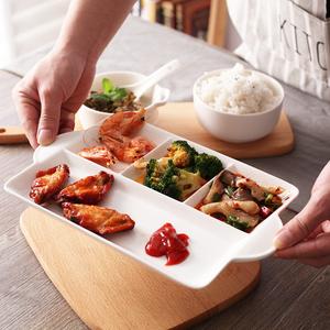 创意陶瓷分格盘饭盘加热快餐盘家用早餐月子餐具套装水果点心盘子