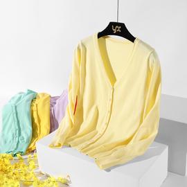 春秋季针织衫女开衫韩版简约长袖V领外搭短款毛衣外套薄款小披肩图片