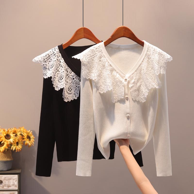 毛针织衫女春秋新款韩版蕾丝花边领短款修身长袖外搭薄开衫小外套