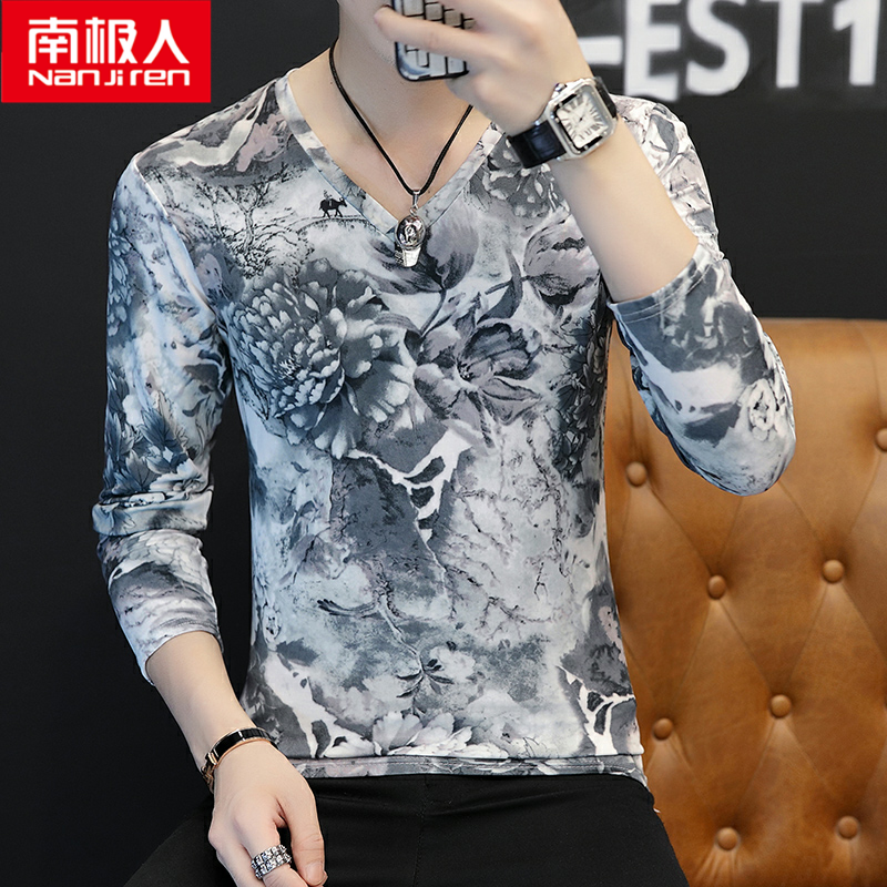 Southern underworld old man domineering tattoo printed clothes mens long sleeve V-neck tight T-shirt