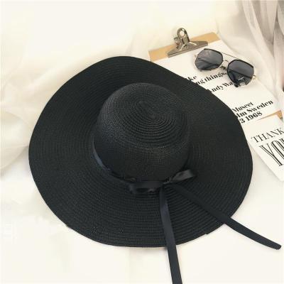 C модель - кружево соломенная шляпа ( черный )