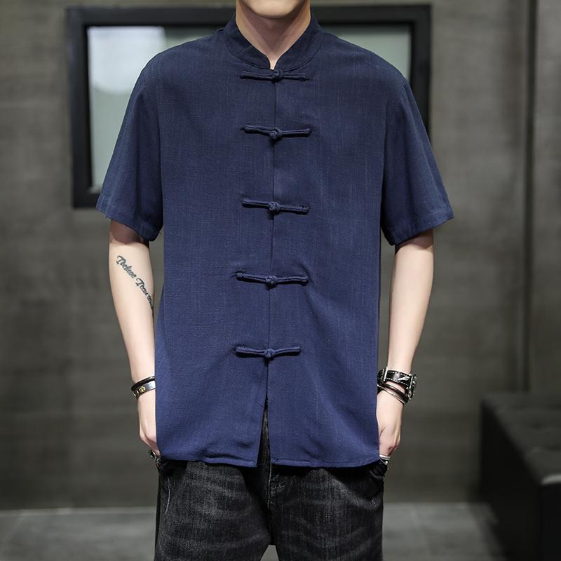 2021春夏新款中国风盘扣衬衫男 棉麻纯色加大码男装衬衣3140-P55