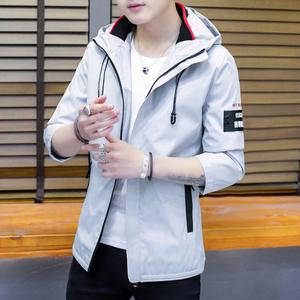 夹克男韩版休闲夹克男装新款潮流时尚帅气学生外套连帽拉链上衣