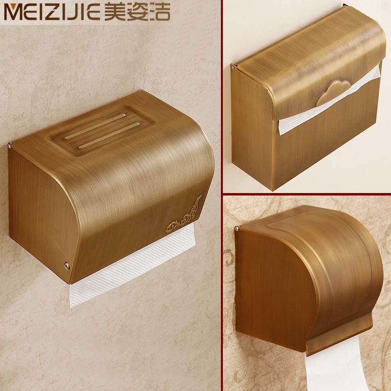 全銅仿古歐式紙巾盒 紙巾架 卷紙盒 廁所衛生間卷紙器 衛浴用品