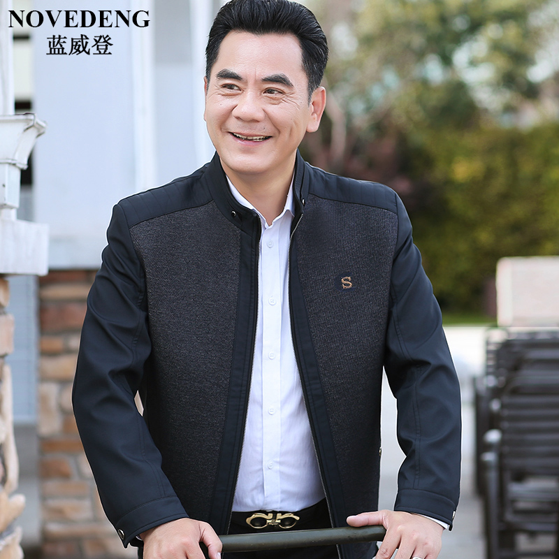 Dad spring coat 40 middle-aged and elderly spring and autumn thin jacket middle-aged men's clothing 50-year-old grandpa