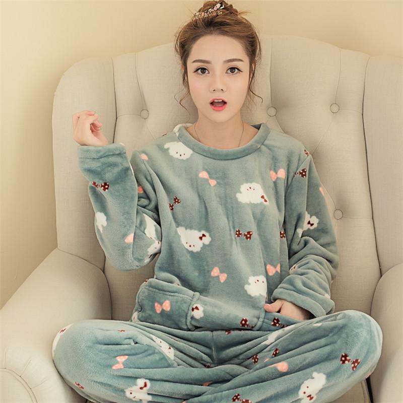 秋冬季韩版珊瑚绒睡衣女式可爱卡通休闲套头法兰绒长袖套装家居服