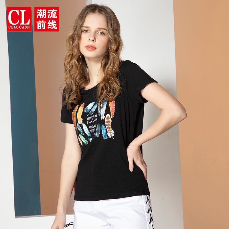 Fashion front short sleeve T-shirt Girls New Summer 2020 personalized pattern printed black jacket students