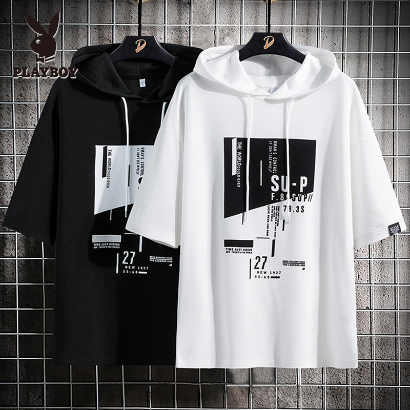 Playboy summer short sleeve t-shirt men's fashion brand ins Hooded Sweater youth 5-sleeve Hoodie