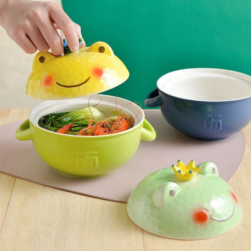 网碗韩版ins风大碗泡面碗带盖焗饭单手吃饭奇怪少女动漫早餐容量
