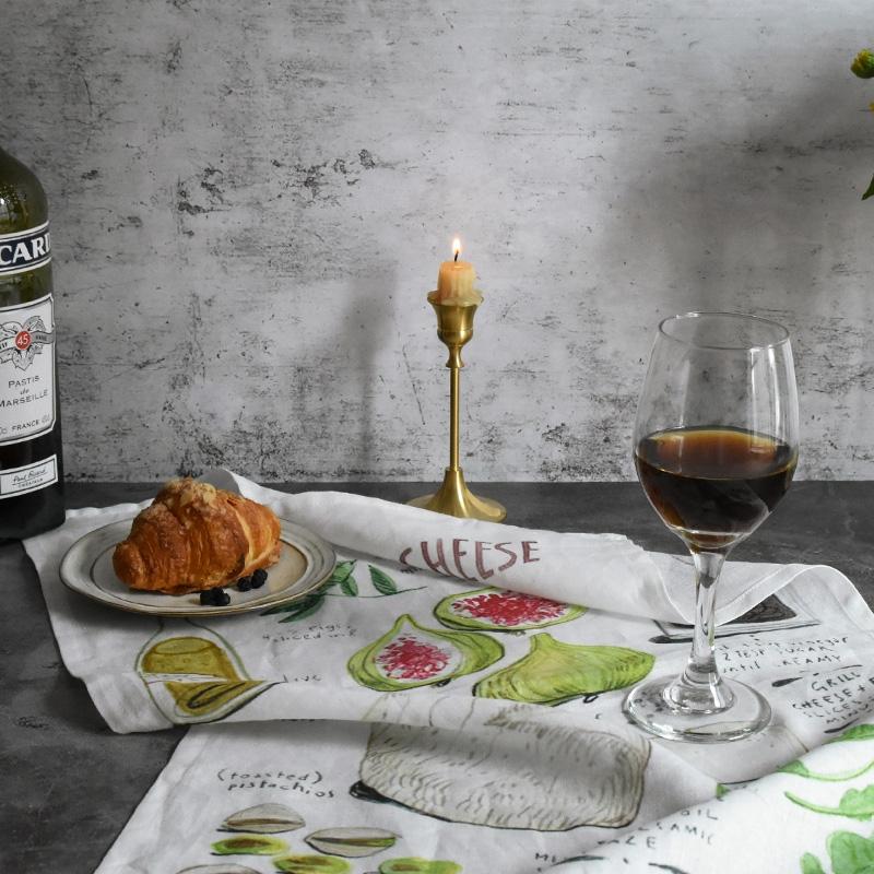 手绘食谱麻棉印花餐巾 西餐垫布餐厅拍照挂布挂画 美食装饰背景布