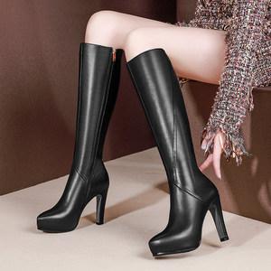 全牛皮真皮不过膝长靴女靴子中长款秋冬季高筒加绒高跟细跟小个子