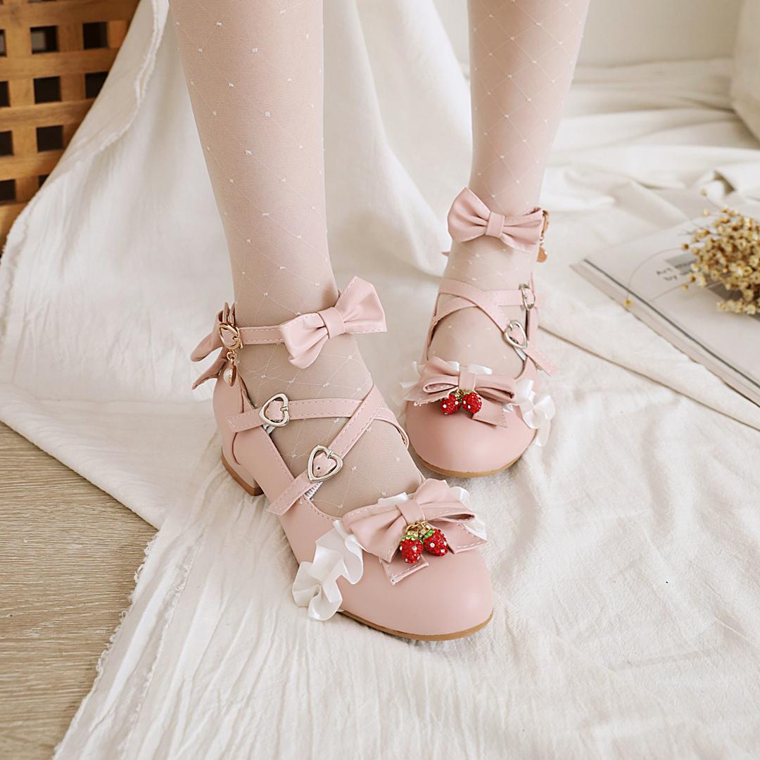 洛丽塔单鞋女Lolita日系蝴蝶结初中学生绑带少女低中跟单皮鞋潮