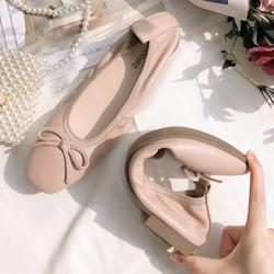 蛋卷鞋真皮软底夏季浅口芭蕾方头平底鞋单鞋2020新款大码女鞋瓢鞋