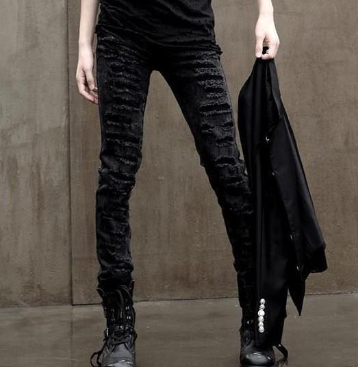Super ragged mens jeans Korean tight legged beggars pants hairstylist trend big hole mens pants
