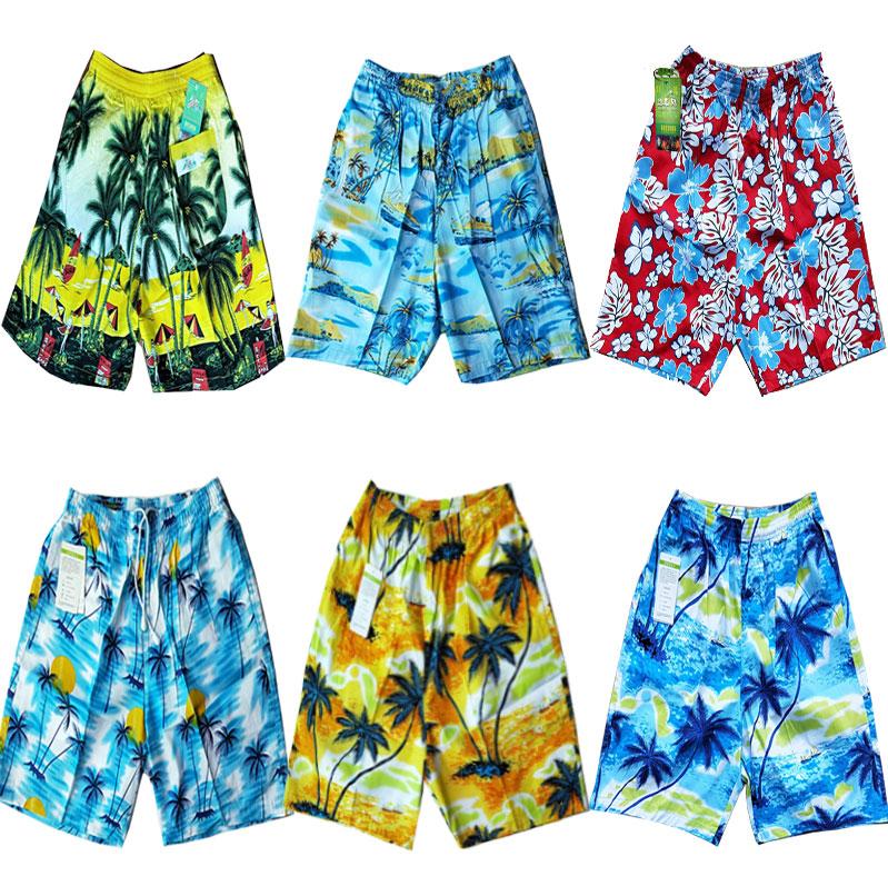 海南岛服沙滩服轻奢休闲短裤沙滩裤个性印花裤男士纯棉短款五分裤