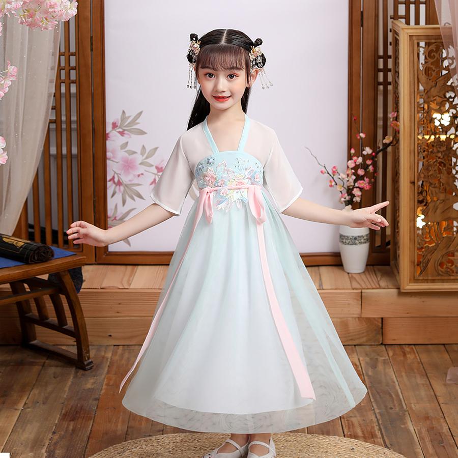 汉服女童儿童古装中国风女宝宝唐装薄款夏季超仙套装古风连衣裙夏