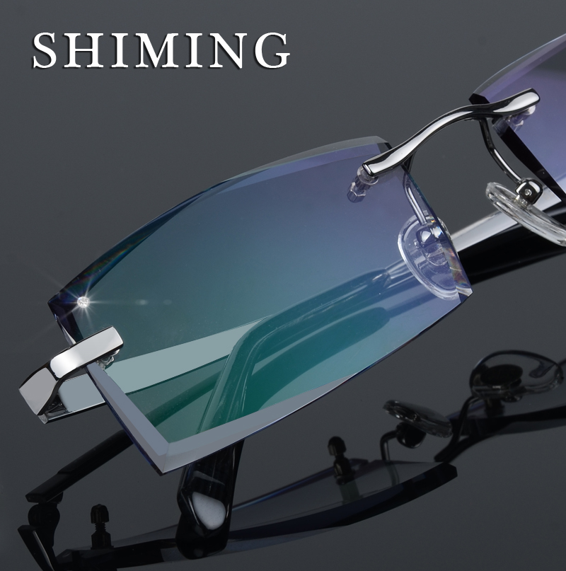 Pure titanium spectacles, nearsighted frame, frameless spectacles for men, diamond cut edge spectacles with flat light gradient anti radiation nearsighted lens