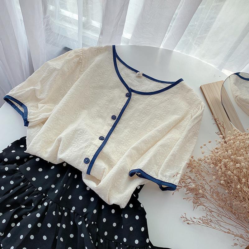2021新款夏季文艺女装撞色包边单排扣圆领泡泡袖衬衫百搭上衣
