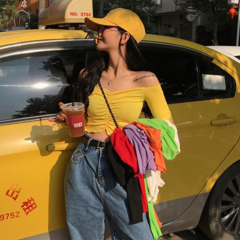 早冬2021韩版chic时尚新款木耳边一字领露肩短款长袖上衣T恤女潮