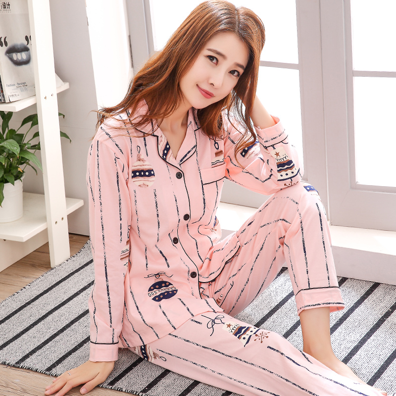 Spring and autumn cotton Lapel pajamas girls autumn long sleeved cardigan plus fat plus size home clothes can be worn outside suit