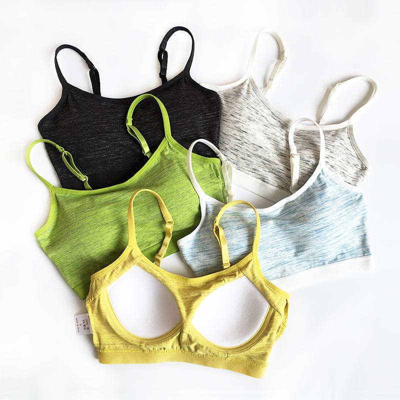 纯棉带胸垫一体式运动内衣女无钢圈文胸吊带背心瑜伽性感短款抹胸