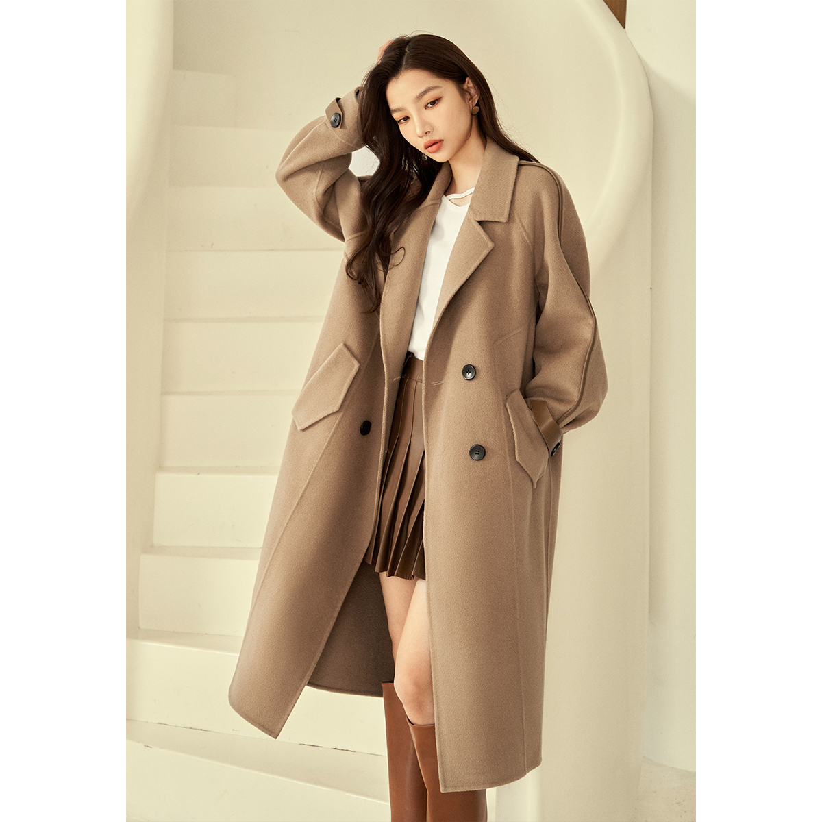 【复古款双面呢大衣】绵羊皮袖袢 成衣克重约1270克