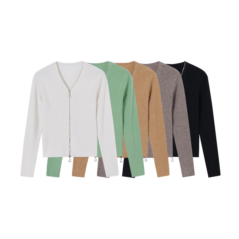 【纯色V领双开拉链羊毛衫】门襟双开拉链羊毛衫 V21Z010087