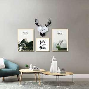 北欧风格客厅挂钟装饰画组合风景餐厅个性创意沙发背景墙壁挂画