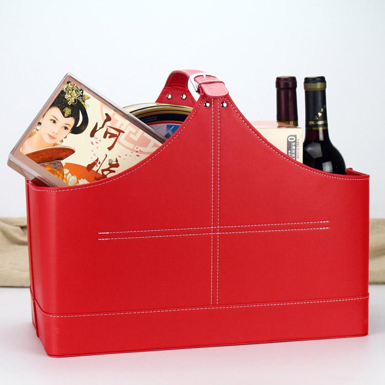 皮革礼品篮水果篮  桌面置物篮其他收纳篮子 圣诞送礼物篮子手提