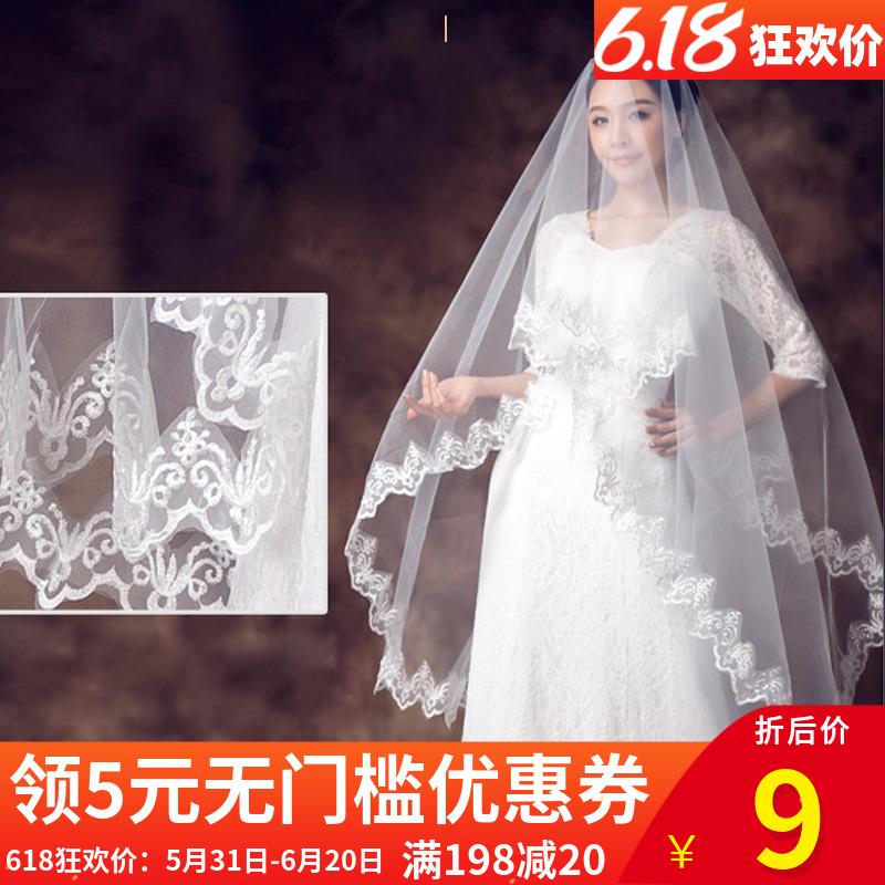 月下相恋新款新娘呢婚纱头纱蕾丝花边简约新娘头纱摄影婚纱照