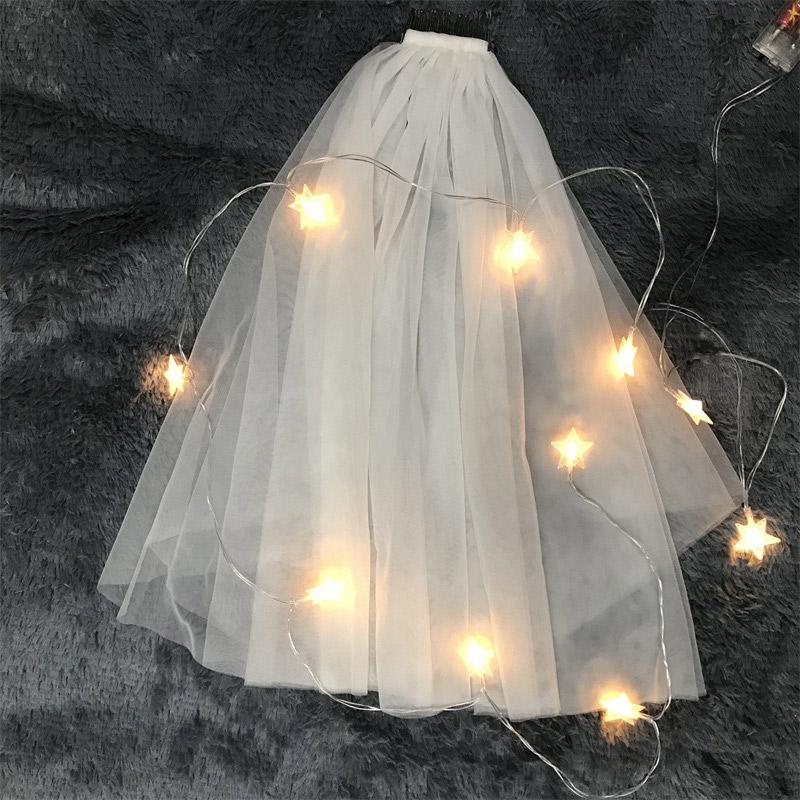 短款女新娘婚纱头纱韩式简约头纱头饰超仙网红拍照道具森系头纱白