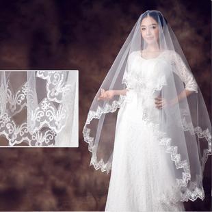 新娘呢婚纱头纱蕾丝花边简约新娘头纱摄影婚纱照 月下相恋新款