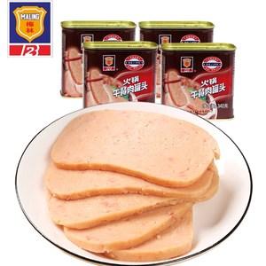 领1元券购买上海梅林340g火锅午餐肉罐头户外野营即食熟食猪肉食品4罐