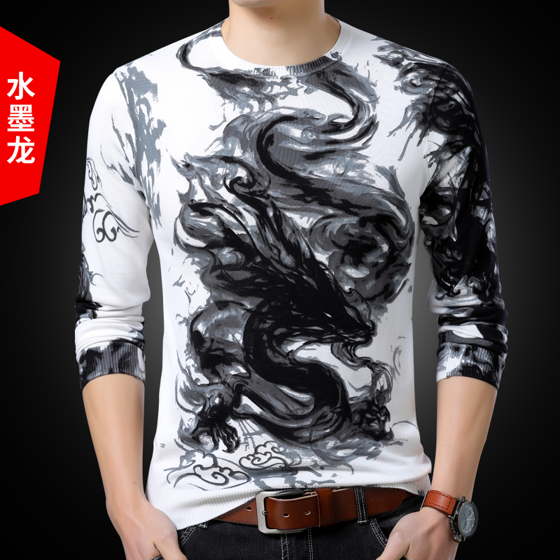 Spring new style mens printed long sleeve T-shirt with pattern thin sweater personalized fashion knitted bottoming shirt large size sweater