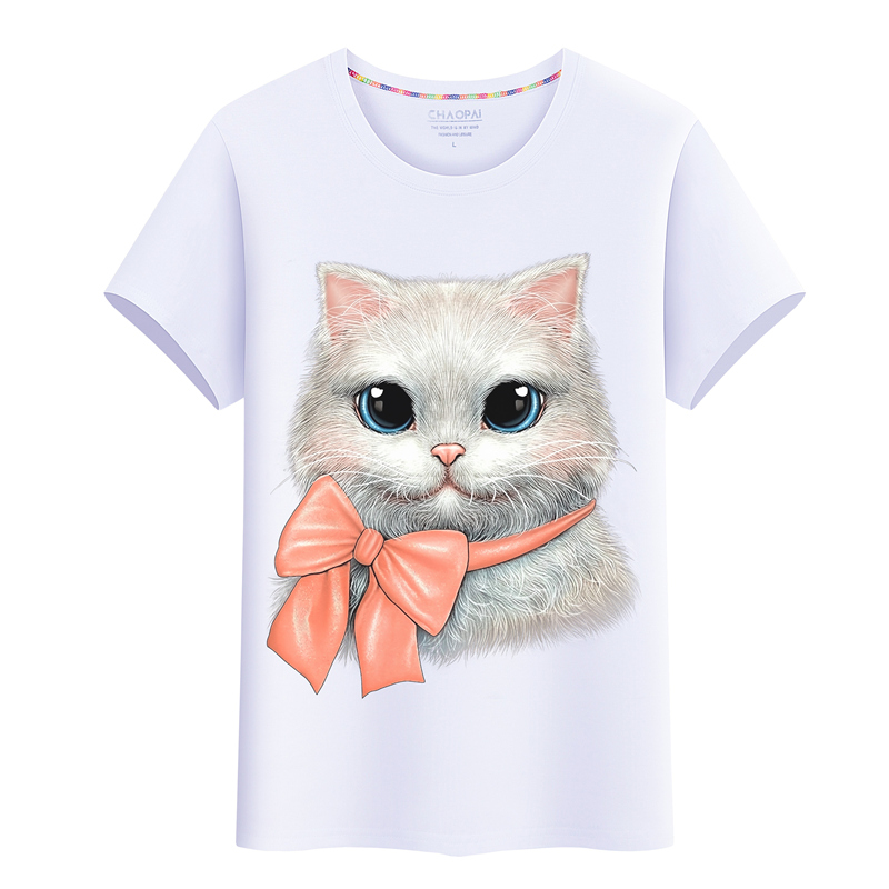 2020 three dimensional womens summer short sleeve T-shirt 3D printed cat pattern half sleeve cotton round neck oversized top