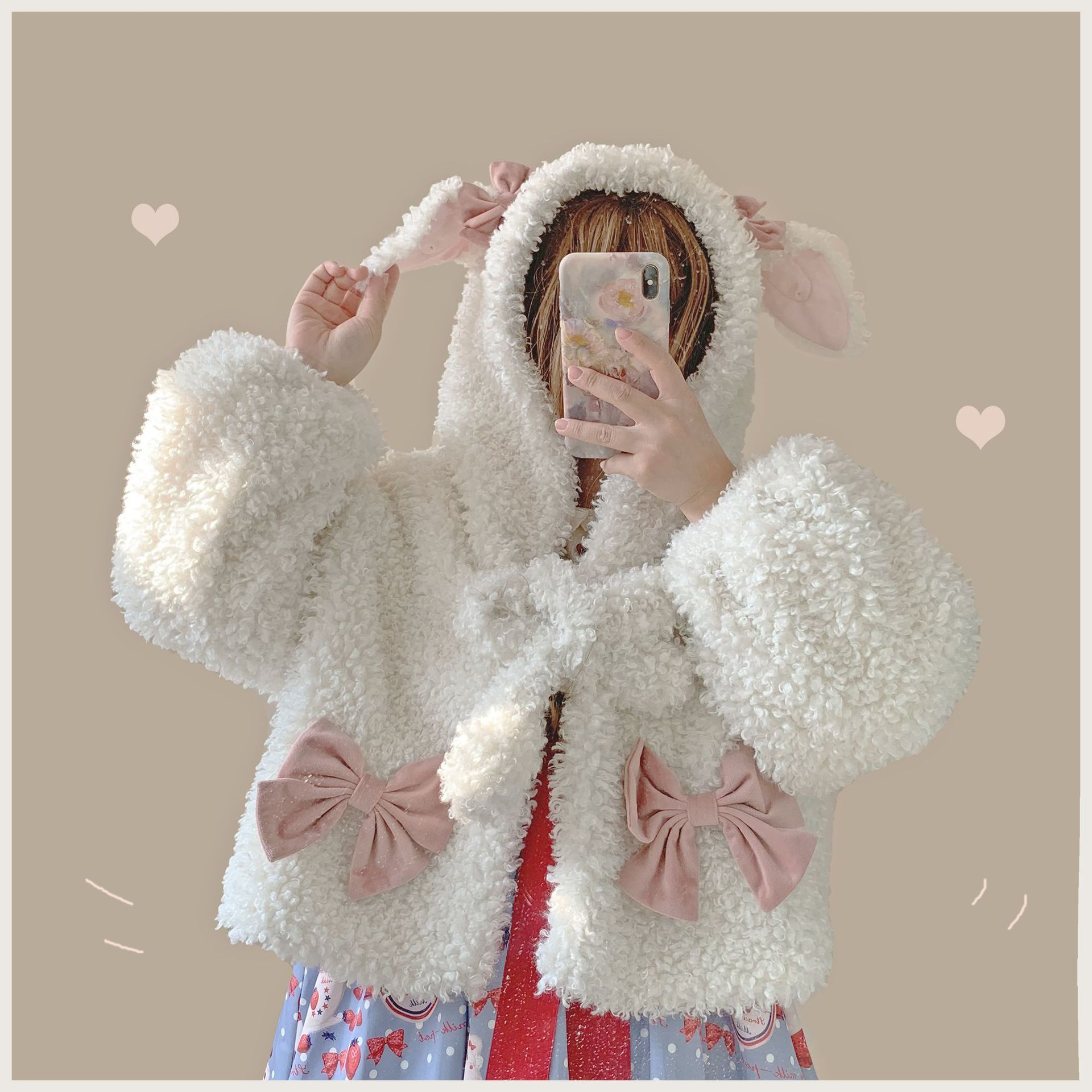 Original Lolita will move soft cute ears small coat thickened cashmere cute long sleeve versatile coat Lolita