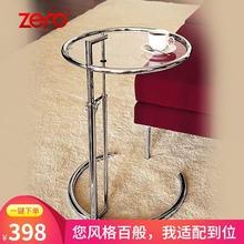 升降茶几轻奢现代圆形不锈钢边几简约钢化玻璃小桌子多功能话几